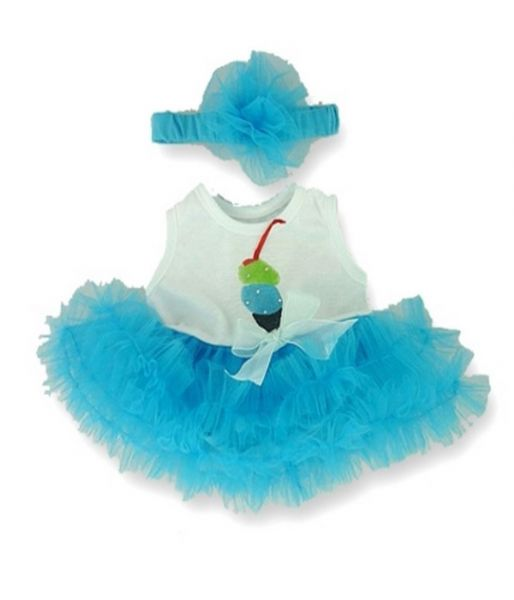 Turquoise Tutu Dress with Headand